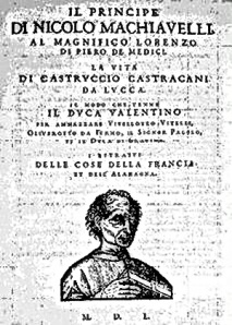 The cover page of the 1550 edition of Machiavelli's The Prince and The Life of Castruccio Castracani of Lucca.