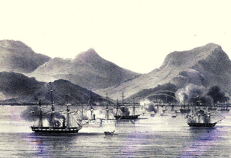 Armada kapal perang Belanda mengepung pantai Aceh tahun 1873