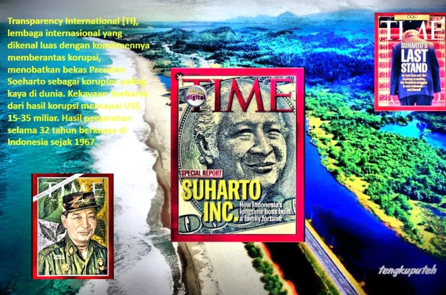 "Soeharto dan Keluarganya adalah ""Penjarah"" terbesar sepanjang sejarah Indonesia. Transparency International (TI), lembaga internasional yang dikenal luas dengan komitmennya memberantas korupsi, menobatkan bekas Presiden Soeharto sebagai koruptor paling kaya di dunia.Kekayaan Soeharto dari hasil korupsi mencapai US$ 15-35 miliar. Hasil penjarahan selama 32 tahun berkuasa di Indonesia sejak 1967."
