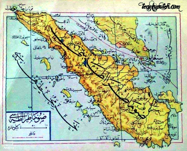 Peta Aceh Sumatera dan Semenajung Melayu Arsip Kekhalifahan Turki Usmani