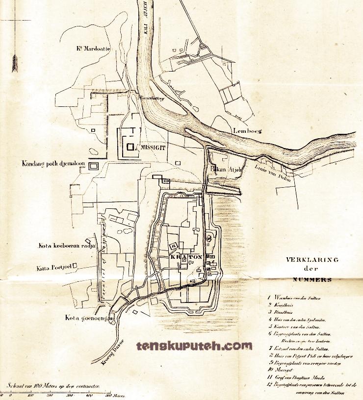 Peta Kraton Aceh versi Belanda 1874