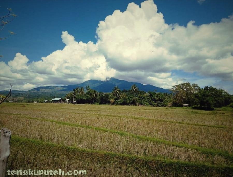 Gunung Seulawah Agam dan Seulawah Inong terlihat berdampingan tampak dari sisi Aceh Besar.
