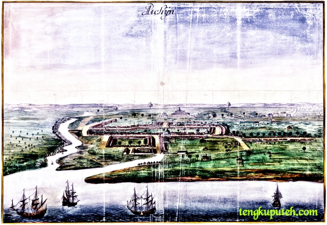 Peta Kerajaan Aceh tahun 1665 Mesehi, koleksi Nationaal Archief, Pelukis Johannes Vingboons.